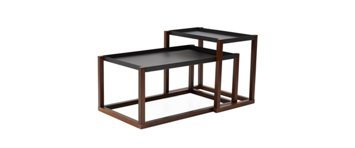 Industrial nesting coffee tables with a matte charcoal gray and walnut finish from Walmart photo