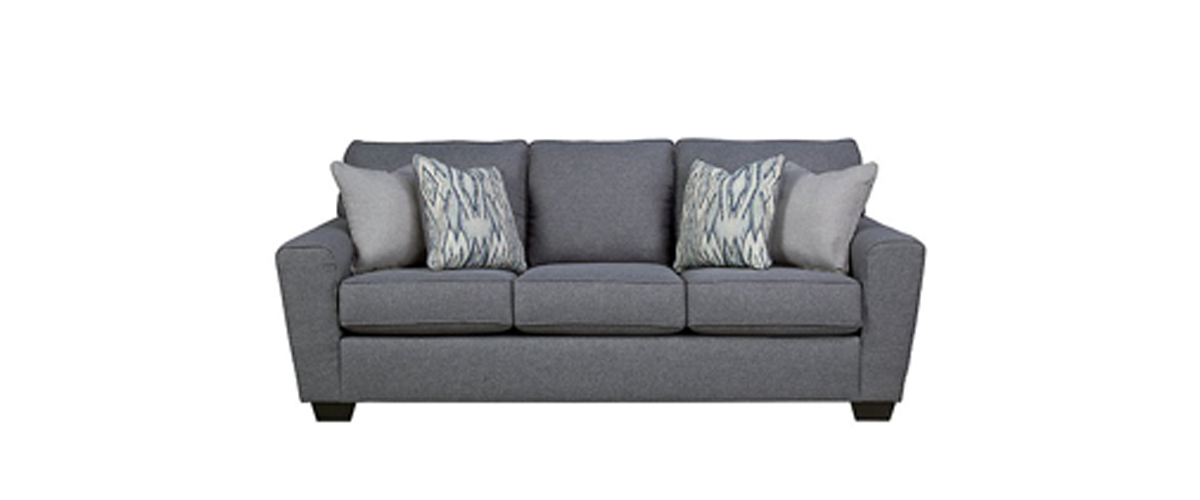 Gunmetal gray sofa with exposed faux wooden legs from Ashley Furniture photo