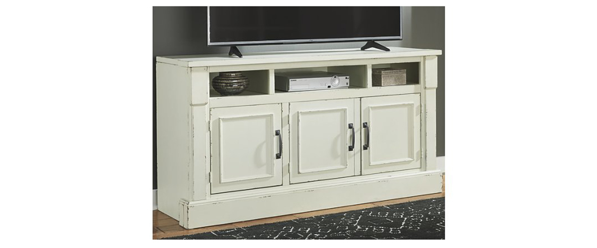 White wooden TV stand with three cabinets from Ashley Homestore photo
