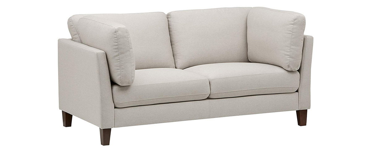 Rivet mid-century-style sofa in cream from Amazon photo