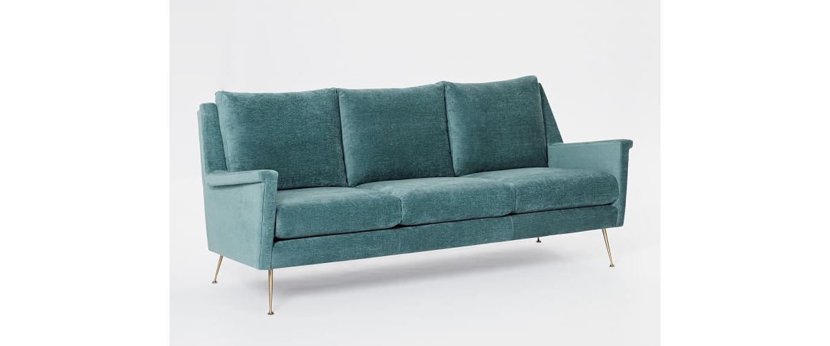 Teal velvet sofa with gold legs from West Elm photo