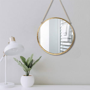 Simmer Stone Round Gold Mirror With Hanging Chain from Amazon photo
