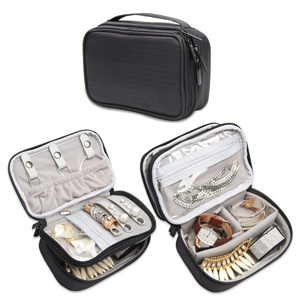 Black jewelry case with two layers from Amazon photo