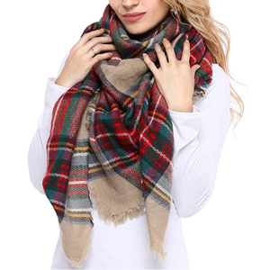 Red and green plaid blanket scarf from Amazon photo