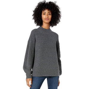 Gray knit sweater with balloon sleeves from Amazon photo