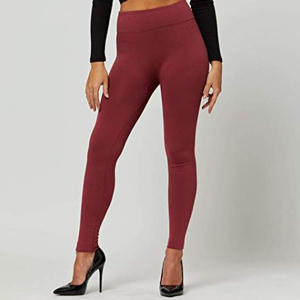 Burgundy fleece lined leggings from Amazon paired with black heels photo