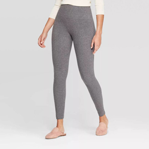 Heather gray fleece lined leggings from Target paired with slip on shoes photo