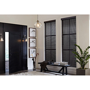 Entryway with two windows outfitted with faux wood blinds from Blinds.com photo