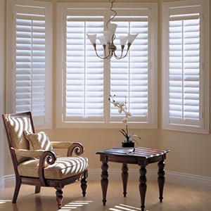 Sitting room with composite shutters from Blinds.com photo