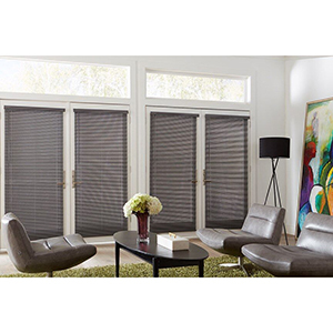 Sitting room with glass doors outfitted with cordless blinds from Blinds.com photo