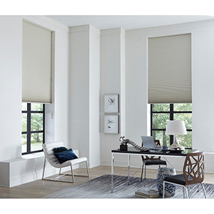 Home office with premium blackout cellular shades from Blinds.com photo