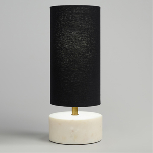 Mid Century White Marble Table Lamp with Black Linen Shade from World Market photo