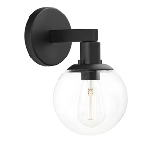 Black wall sconce with a clear round bulb from Wayfair photo