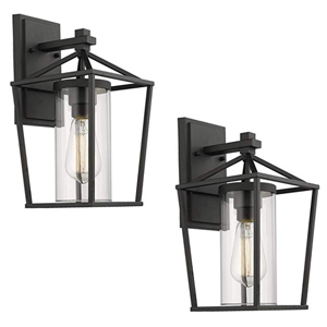Set of two black caged wall sconces for outdoor use from Amazon photo