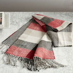 Red, white, and black plaid blanket scarf from Pottery Barn photo