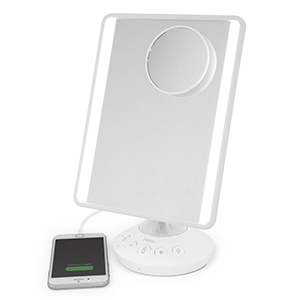 White iHome Mirror with phone plugged in from Walmart photo