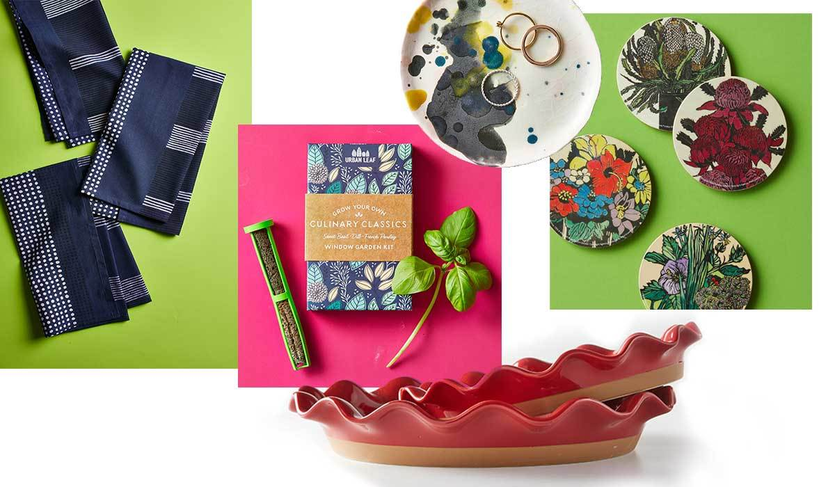 BH&G gift guide featuring dish towels, a ring plate, and drink coasters photo