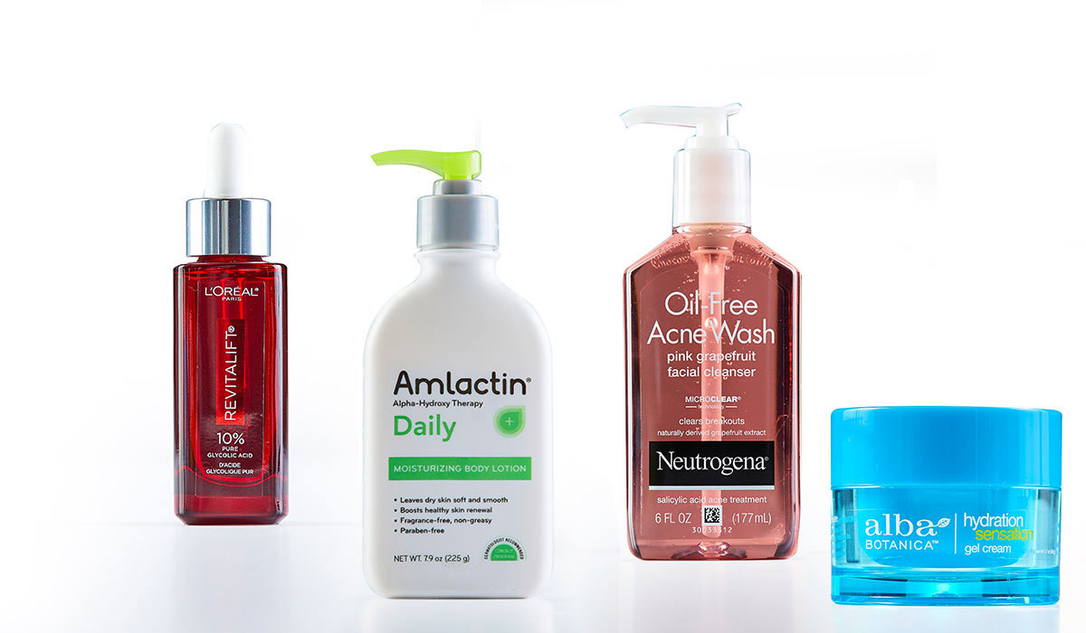 Multiple skincare products with acid photo