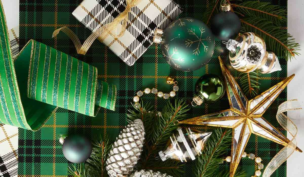 Green, gold, and silver ornaments photo