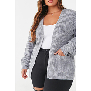 A woman wears a gray ribbed open-front cardigan from Forever 21 photo