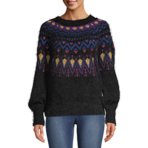 Black and multicolored fair isle-patterned sweater from Walmart photo