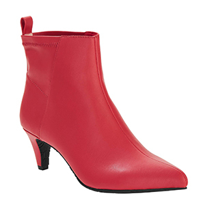 Red vegan leather pointed toe booties from Walmart photo