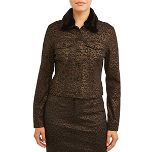 A woman wears a black and bronze leopard print jacket with a fur collar from Walmart photo