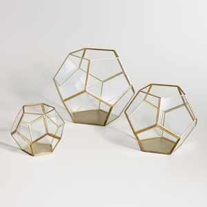 Three brass geo terrarium holders in different sizes from World Market photo