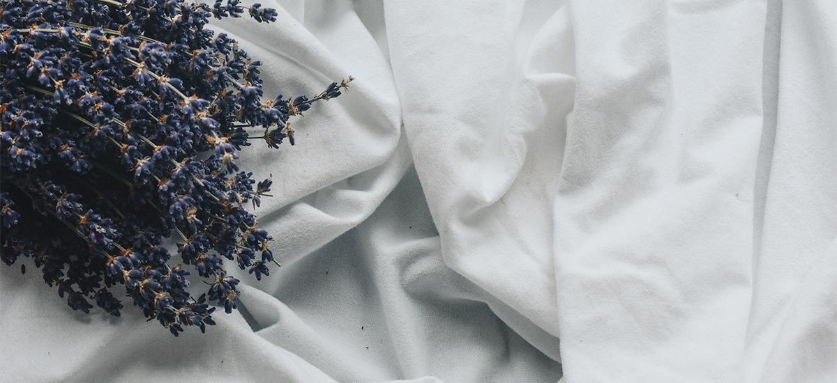White sheets with lavender