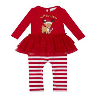 Rare Editions Baby Girls Tutu Onsie with Christmas Reindeer Applique photo