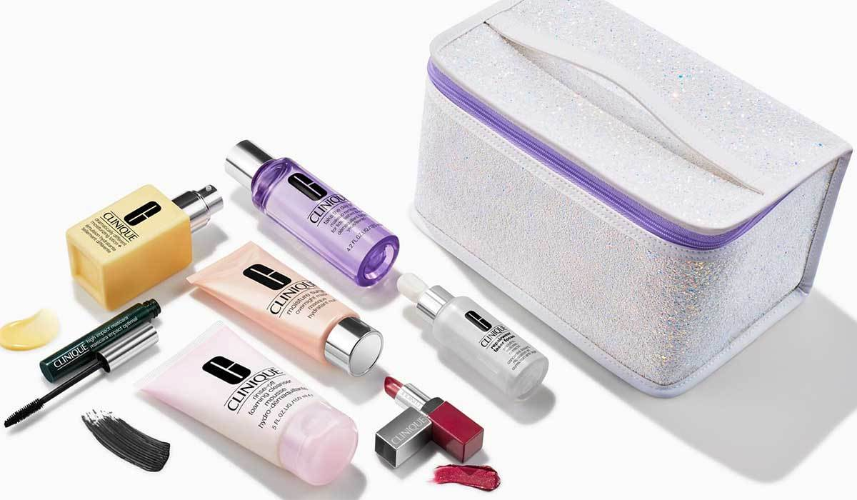 Clinique makeup kit with face cream, makeup remover, lipstick and mascara from Nordstrom photo