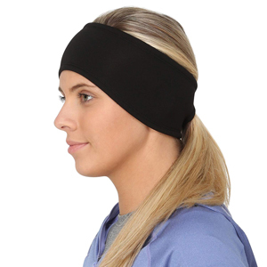 Black cold weather headband with ponytail opening from Amazon photo
