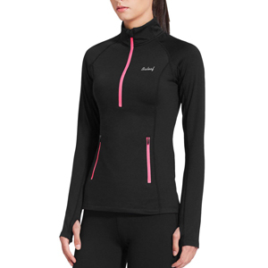 Black and pink half zip up fleece pullover jacket from Amazon photo