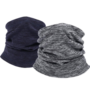Fleece neck warmer in gray and navy from Amazon photo