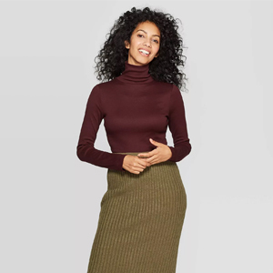 A New Day Women's Regular Fit Long Sleeve Turtleneck Ribbed Sweatshirt from Target photo