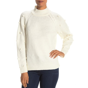 CeCe by Cynthia Steffe Pom-Pom Sleeve Mock Neck Sweater from Nordstrom Rack photo
