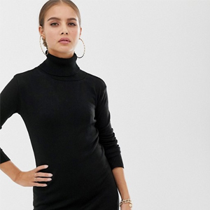 Boohoo Basic Roll Neck Sweater Dress in Black from Asos photo
