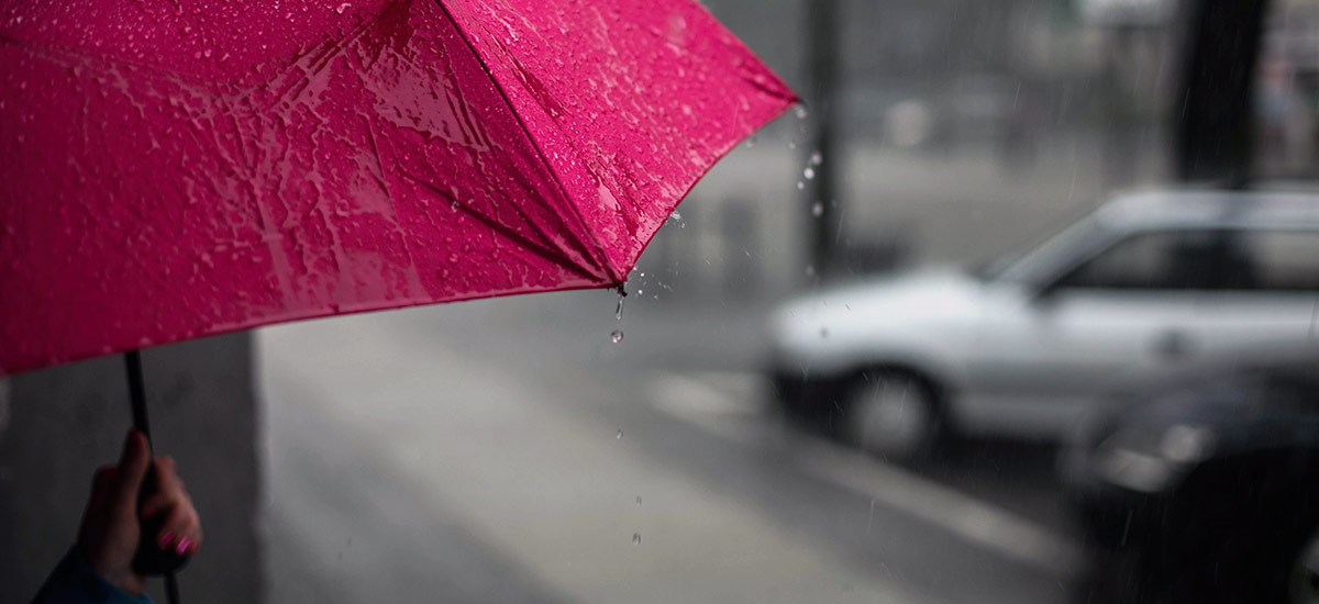 Pink umbrella being held by a woman with pink nails