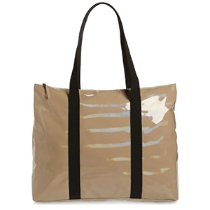 Shiny Beige Tote with Black Shoulder Straps from Nordstrom photo