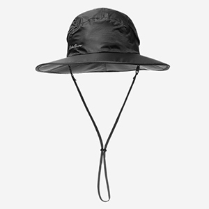 Black waterproof hat with a long string strap from Eddie Bauer photo