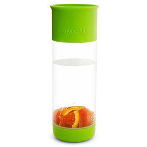 Green water bottle with a clear middle and fruit from Walmart photo