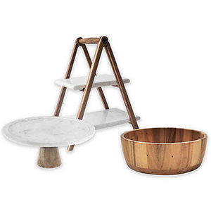 Cake stand, bowl, and marble server from Bed Bath & Beyond photo