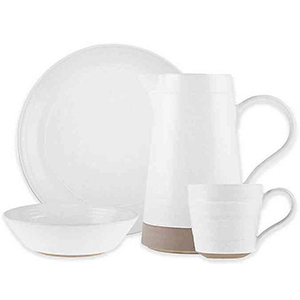 White plate, bowl, cup, and pitcher from Bed Bath & Beyond photo