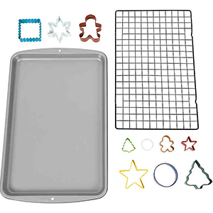 Baking sheet, drying rack, and cookie cutters from Bed Bath & Beyond photo