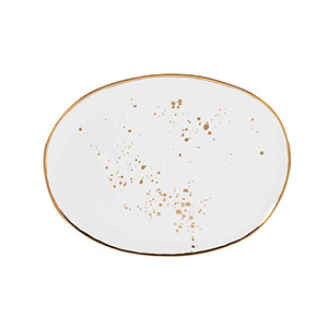 White irregular shaped oval platter with gold splatters from Bed Bath & Beyond photo