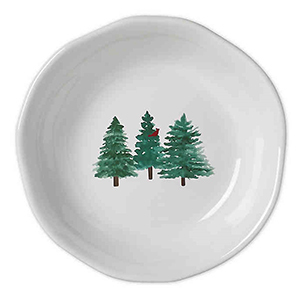 White dinner bowl with three painted watercolor trees from Bed Bath & Beyond photo