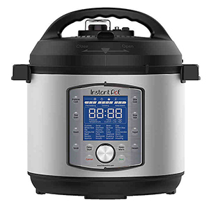 Silver and black Instant Pot pressure cooker from Bed Bath & Beyond photo