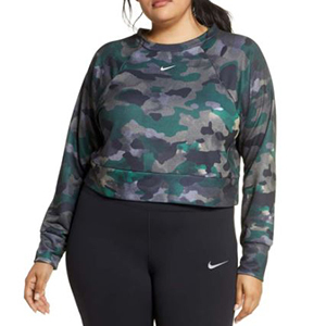 Woman wearing a blue camouflage sweatshirt from Nordstrom photo