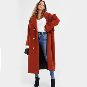 Woman wearing a large red coat from ASOS photo