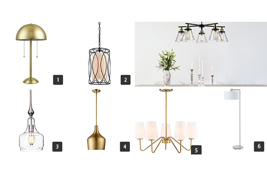 Collage of various light fixtures from Houzz photo